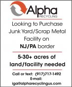 Scrap/Junk Yard WANTED by Alpha Recycling